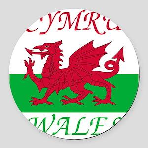 Wales-Cymru Round Car Magnet