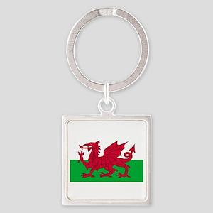 Wales-Cymru-Dark Square Keychain