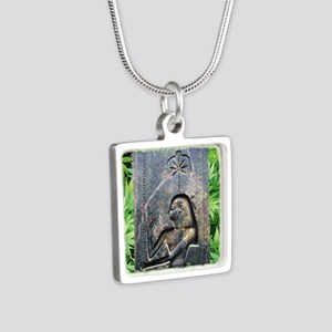 TempleCropSQforTiles Silver Square Necklace