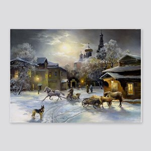 Russian Winter Painting 5'x7'area Rug