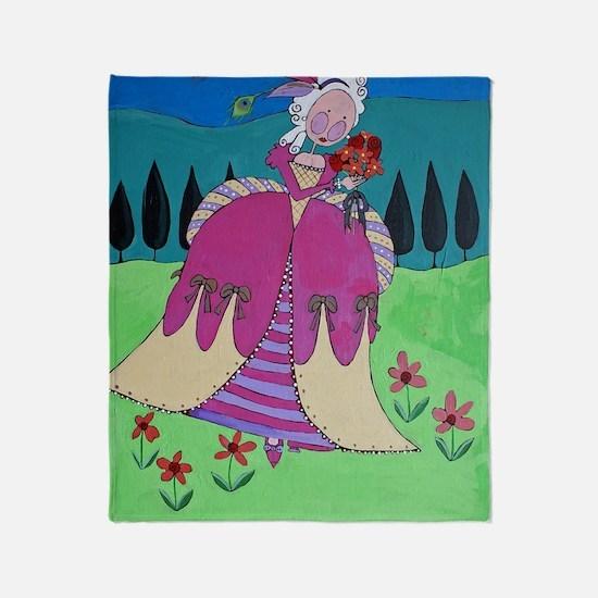Marie Antoinette in her Garden Throw Blanket