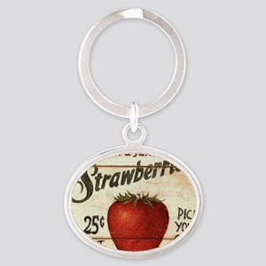 strawberries-posters Oval Keychain