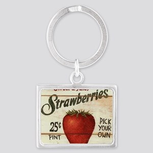 strawberries-posters Landscape Keychain