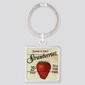 strawberries-posters Square Keychain