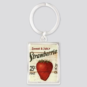 strawberries-posters Portrait Keychain