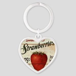 strawberries-posters Heart Keychain