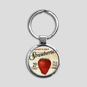 strawberries-posters Round Keychain