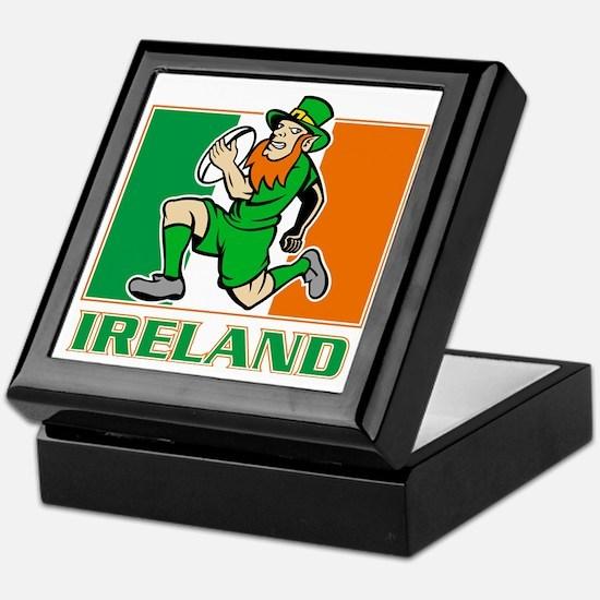 Irish leprechaun rugby player Ireland Keepsake Box