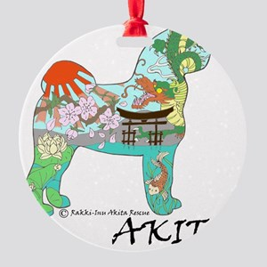 Akita National Treasure (light) Round Ornament
