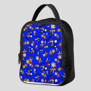 Blue Baseball Pattern Neoprene Lunch Bag