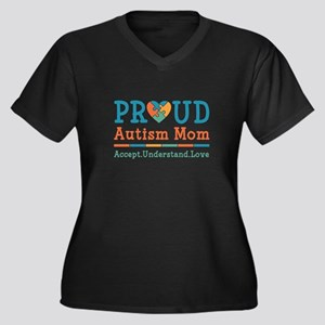 Proud Autism Mom Women's Plus Size V-Neck Dark T-S