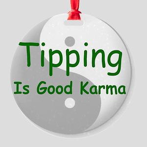 karma_label_zazzle Round Ornament