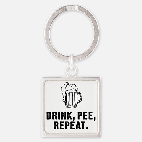 Drink Pee Repeat Square Keychain