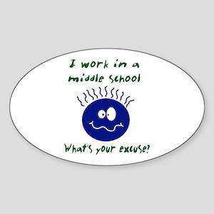 work in middle school Oval Sticker