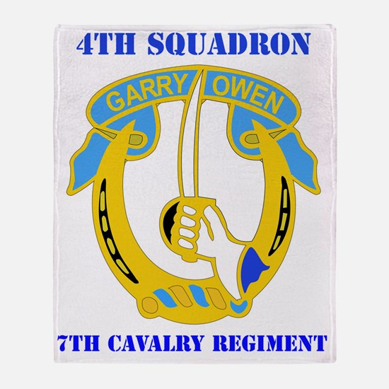 4-7TH CAV RGT WITH TEXT Throw Blanket