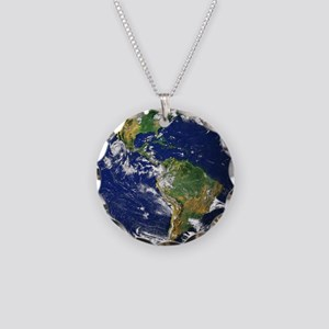 Nasa_blue_marble Necklace Circle Charm