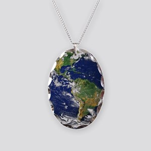 Nasa_blue_marble Necklace Oval Charm