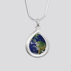 Nasa_blue_marble Silver Teardrop Necklace