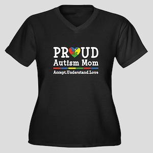 Proud Autism Mom Women's Plus Size V-Neck Dark T-S