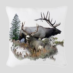 Buck deer bull elk Woven Throw Pillow