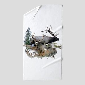 Buck deer bull elk Beach Towel