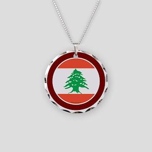 btn-flag-lebanon Necklace Circle Charm