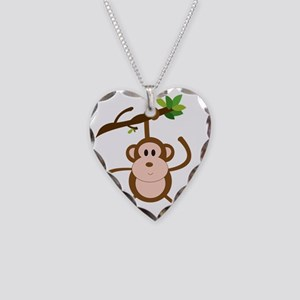 hanging monkey Necklace Heart Charm