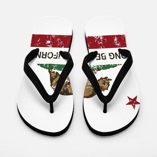 california flag long beach distressed Flip Flops
