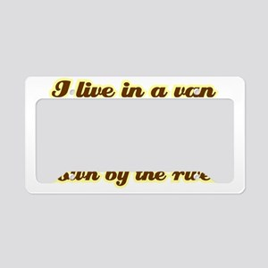 I-live-in-a-van-(dark-shirt) License Plate Holder