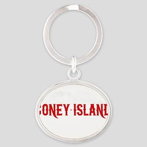 coney_island-nyc4black Oval Keychain