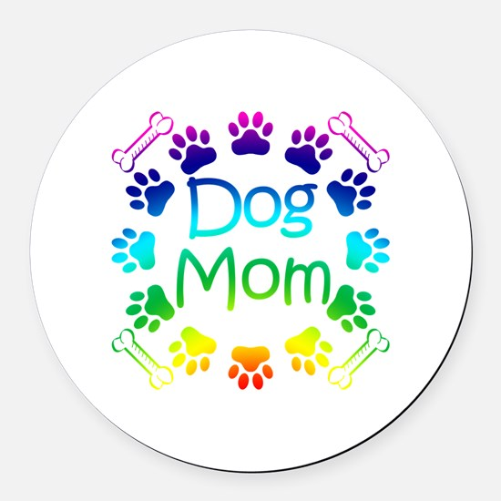 """Dog Mom"" Round Car Magnet"