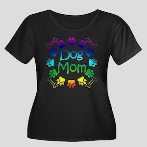 """Dog Mom"" Women's Plus Size Scoop Neck Dark T-Shir"