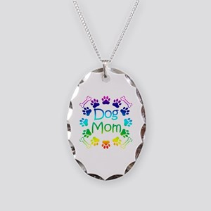 """Dog Mom"" Necklace Oval Charm"