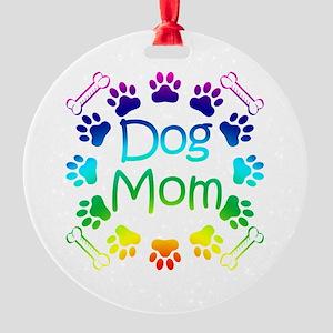 """Dog Mom"" Round Ornament"