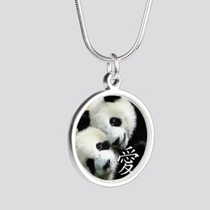 Chinese Love Little Pandas Silver Round Necklace