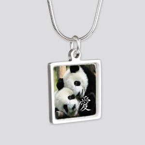 Chinese Love Little Pandas Silver Square Necklace