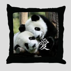 Chinese Love Little Pandas Throw Pillow