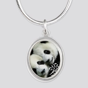 Chinese Love Little Pandas Silver Oval Necklace