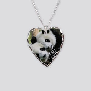 Chinese Love Little Pandas Necklace Heart Charm