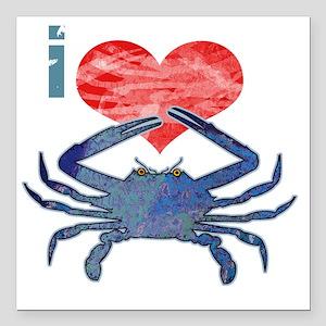 "crabHeart Square Car Magnet 3"" x 3"""