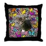 Emma Gray Tabby Kitty Butterflies Throw Pillow