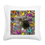 Emma Gray Tabby Butterflies Square Canvas Pillow