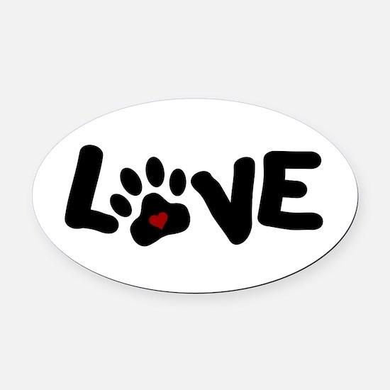 Love (Pets) Oval Car Magnet