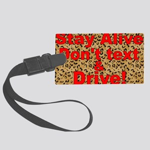 text and drive leopard red Large Luggage Tag
