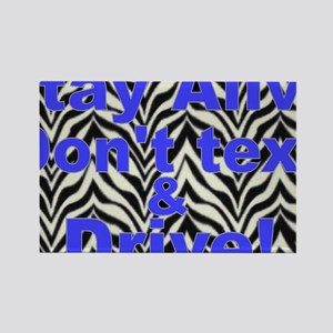 text and drive blue zebra Rectangle Magnet