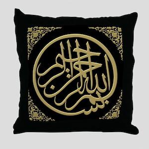 bismillah_gold_filla_on_black_lg Throw Pillow