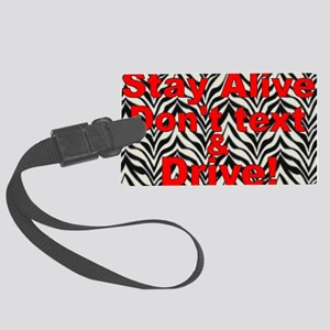 text and drive zebra red Large Luggage Tag