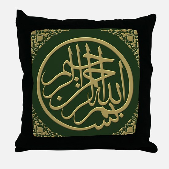 bismillah_gold_filla_on_green_lg Throw Pillow