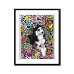 Irie Siberian Husky Butterflies Framed Panel Print