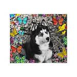 Irie Siberian Husky Butterflies Throw Blanket